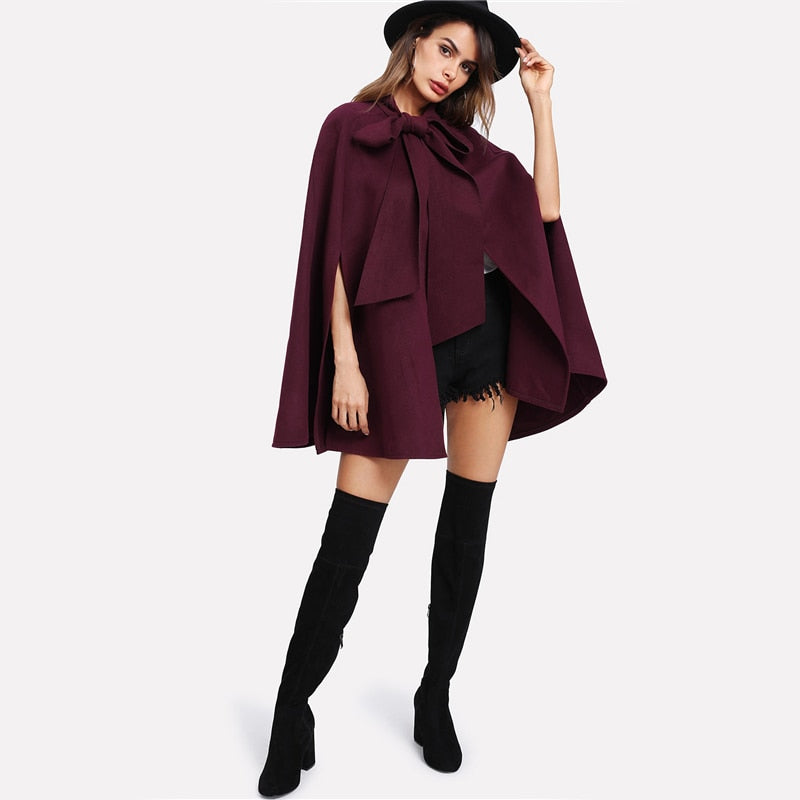 Amy Bow Tie Cape Coat, Burgundy