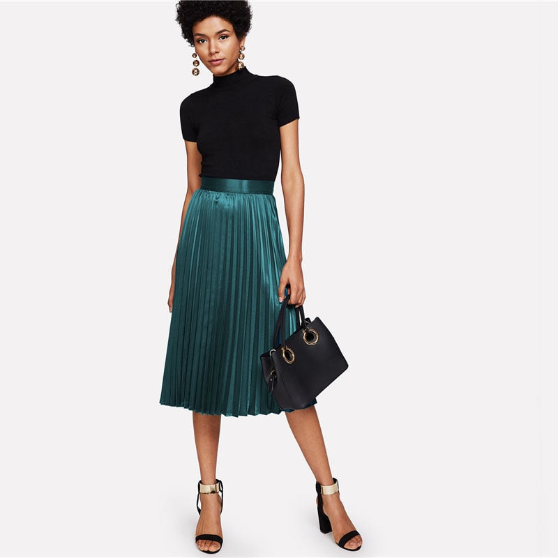 Maxine Pleated Satin Skirt,  Green
