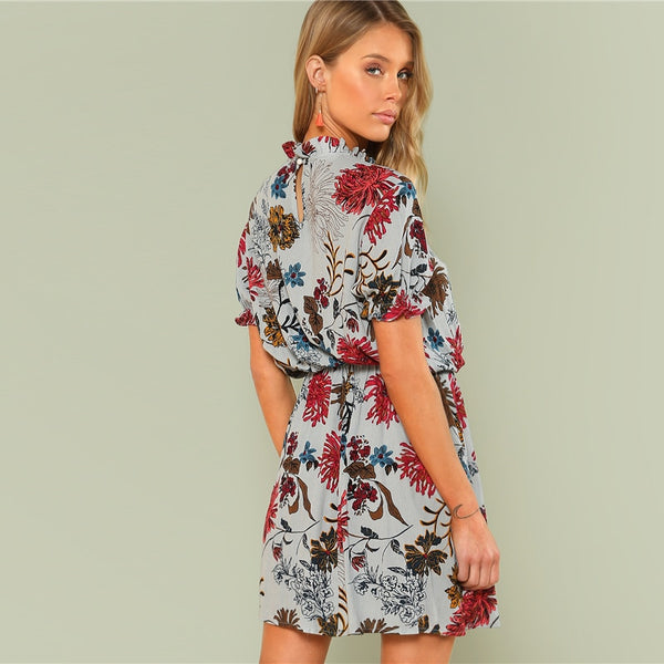 Petrolen Ruffle Cuff Mock Neck Dress, Floral Print