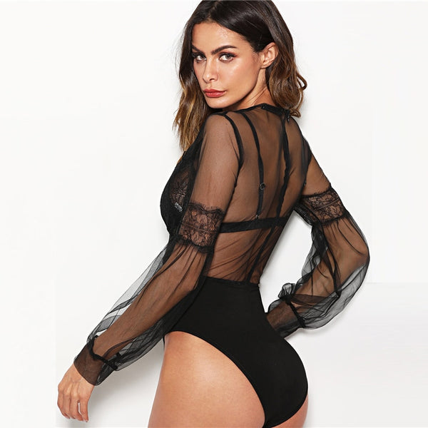 Britney Plunge Neck Lace Insert Sheer Mesh Puff Sleeve Bodysuit, Black