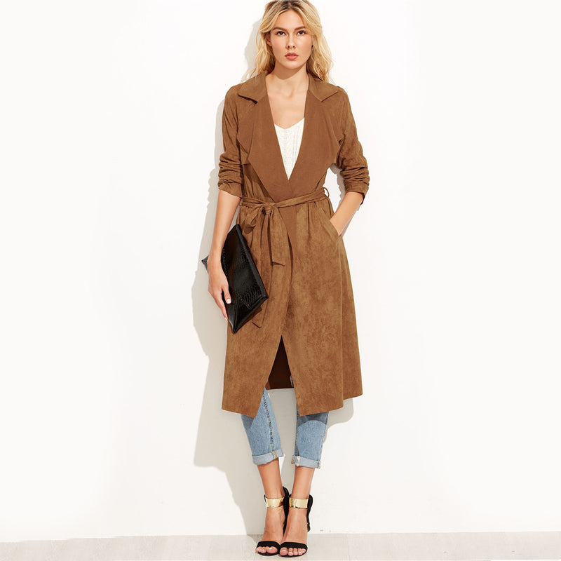 Pixie Suede Waterfall Collar Trench Coat, Brown