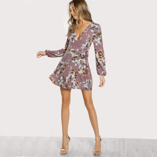 Heress A-Line Deep V-neck Wrap Dress, Floral Print