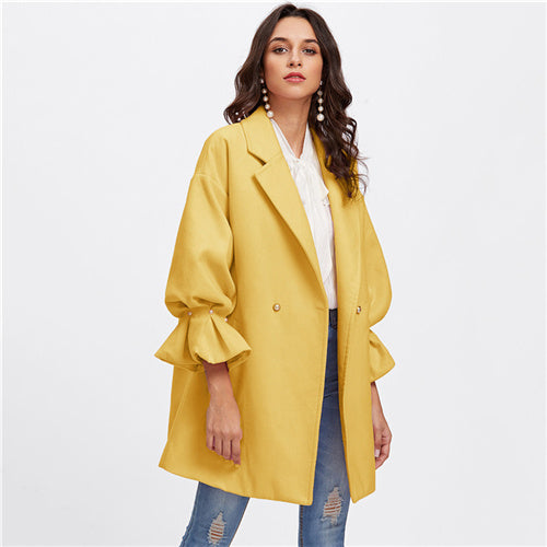 Rumple Drop Shoulder Pearl Detail Ruffle Cuff Highstreet Coat, Yellow