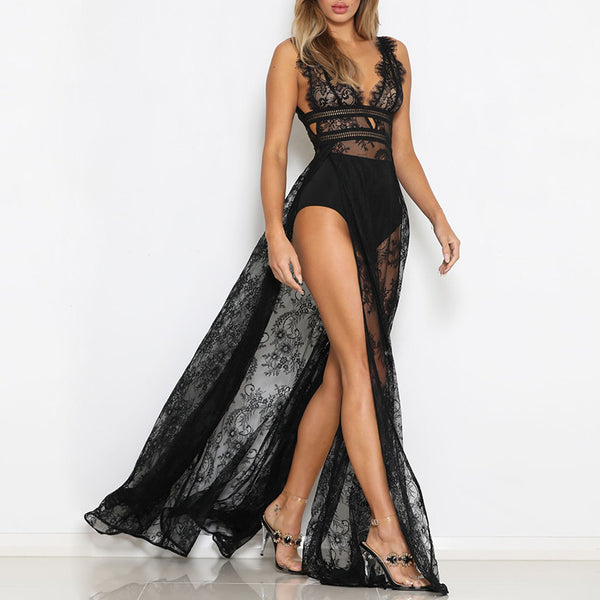 Glass Lace Transparent Side Split Maxi Dress