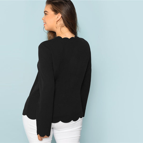 Huff Curva, Scallop Trimming Blouse, Black