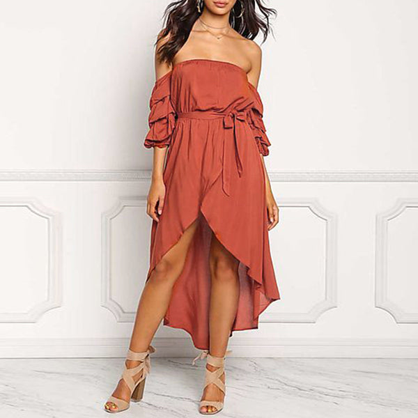 Khloe Asymmetrical Slash Neck Dress, Burnt Orange