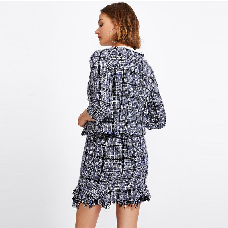 Cher Grid Frayed Tweed Two Piece Set, Plaid