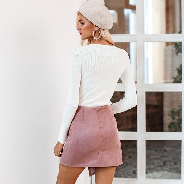 Rezy Asymmetrical Wrap Skirt, Pink