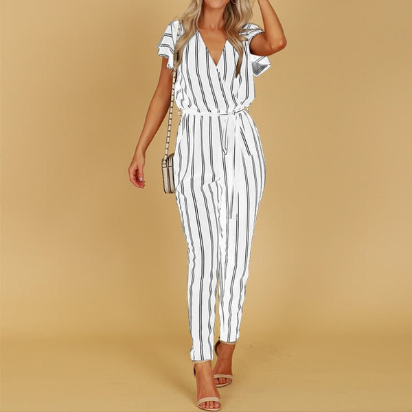 Hunter V Neck Harem Jumpsuit, Striped Print
