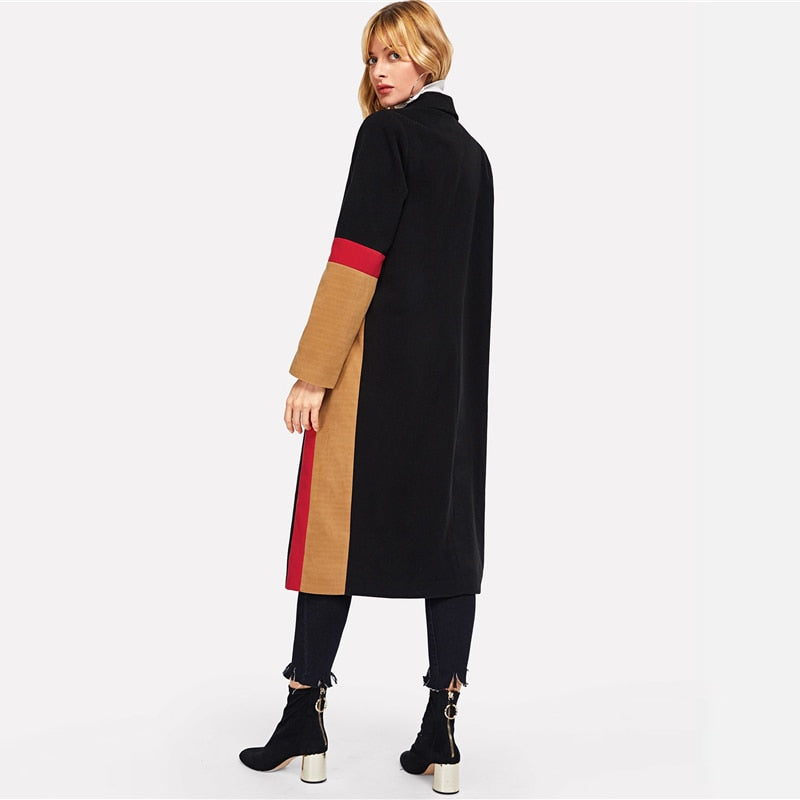 Dione Color Block Maxi Wool Coat, Multi