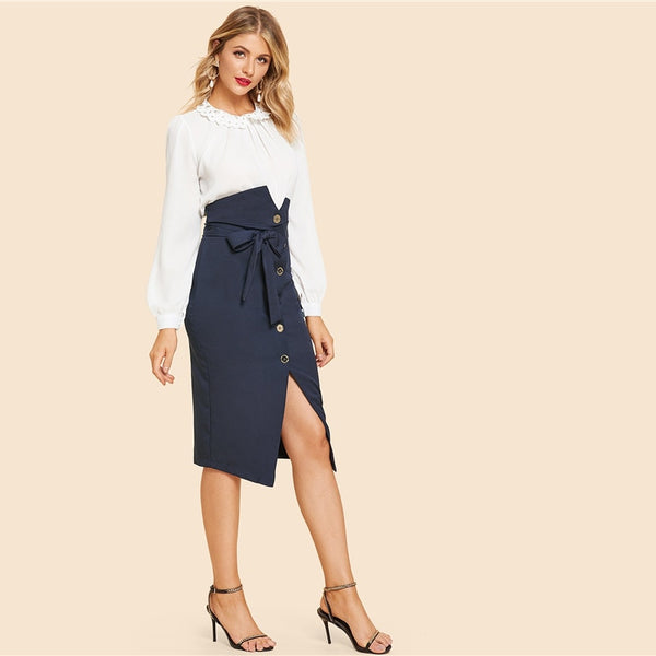 Haley Button Up Slit Hem Mid Skirt, Blue