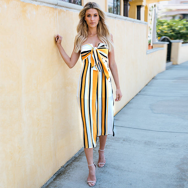 Ingrid Strapless Bowtie Jumpsuit, Striped Print
