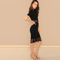 Pony Scallop Edge Laser Cut Two Piece Set, Black