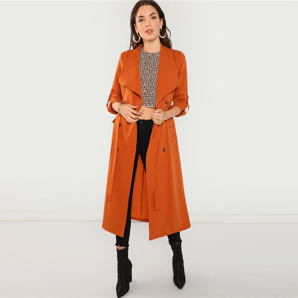 Xanny Double Breasted Trench Coat, Orange