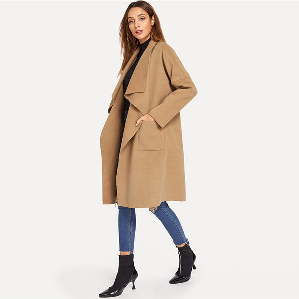 Roxx Waterfall Collar Trench Coat, Camel