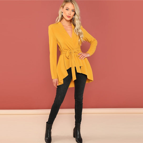 Ginger Asymmetrical Belted Coat, Golden Yellow