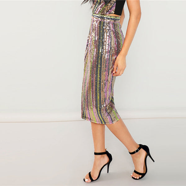 Sparkle Sequin Embroidery Midi Skirt, Print