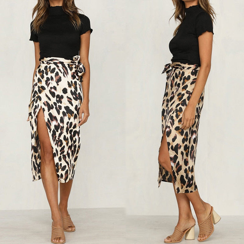 BamBam Wrap High Waist Skirt, Leopard Print
