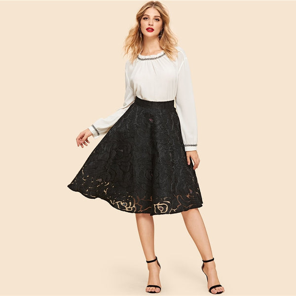 Nancy Floral Exposed Textured Skirt, Black