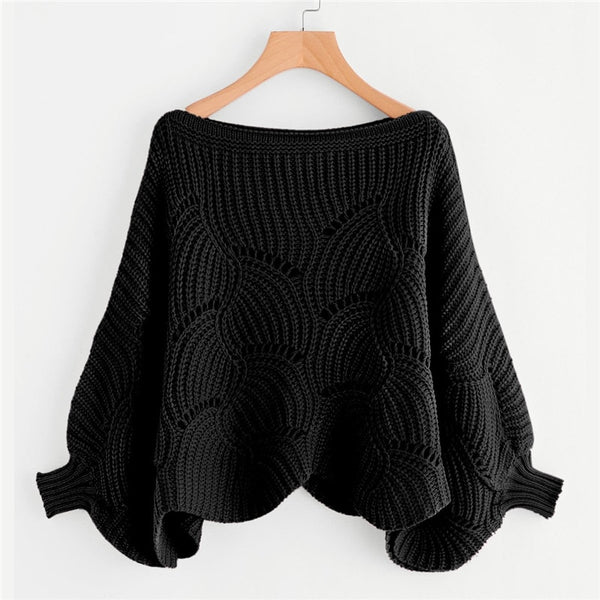 Brooklyn Oversized Eyelet Detail Scallop Trim Batwing Sweater, Black