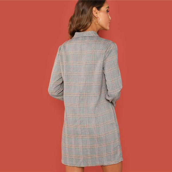 Ashley Double Breasted Blazer Dress, Plaid Print