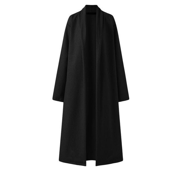 Mary Wool Oversized Long Coat, Black
