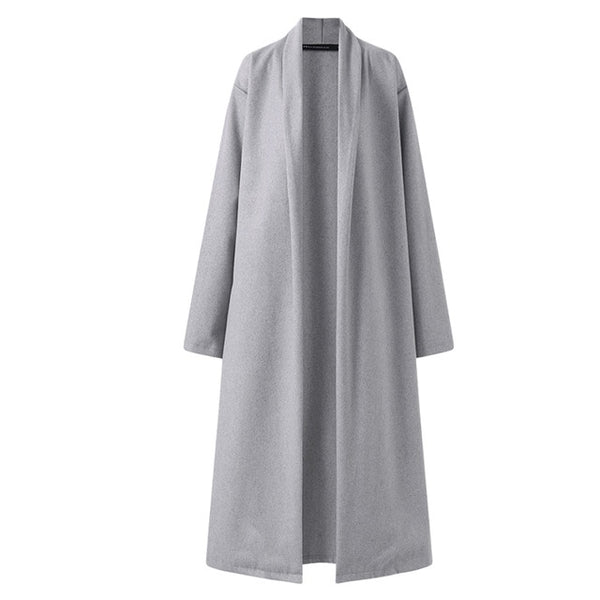 Mary Wool Oversized Long Coat, Gray