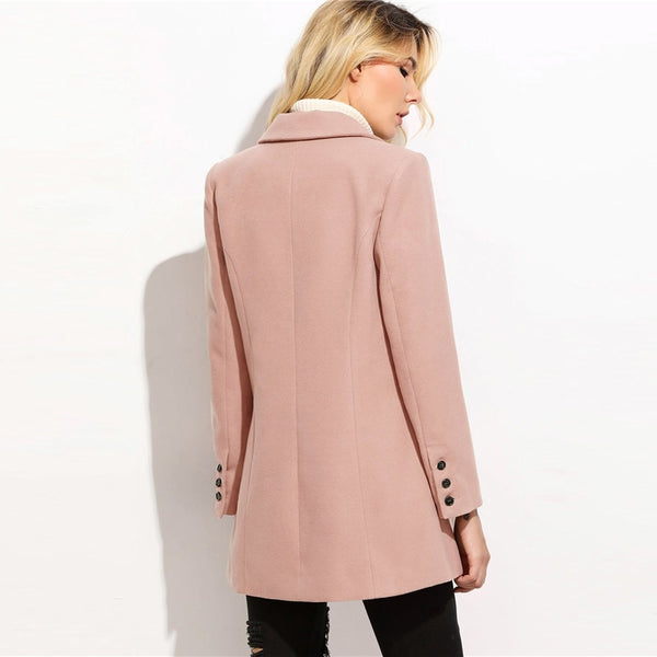 Cindy Double Breasted Pea Coat, Pink Blush