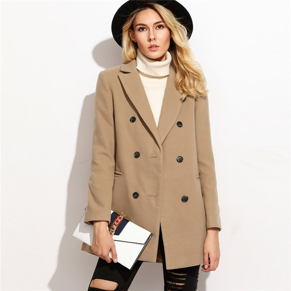 Cindy Double Breasted Pea Coat, Camel