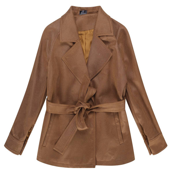 Dolly Suede Belted Wrap Trench Coat, Brown