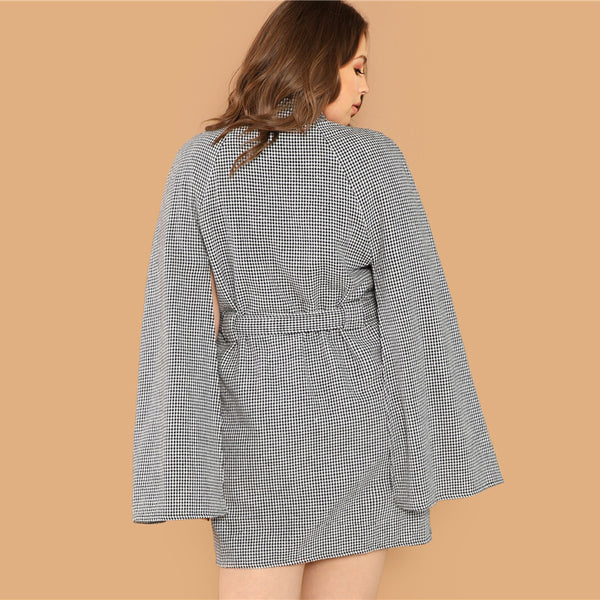 Teresa, Curva Turtleneck Cape Dress, Gray