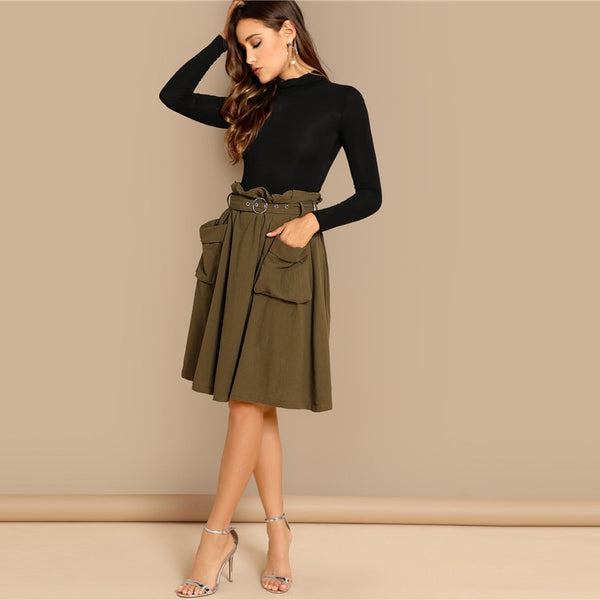Nat Waist Belted Pleated Skirt, Green