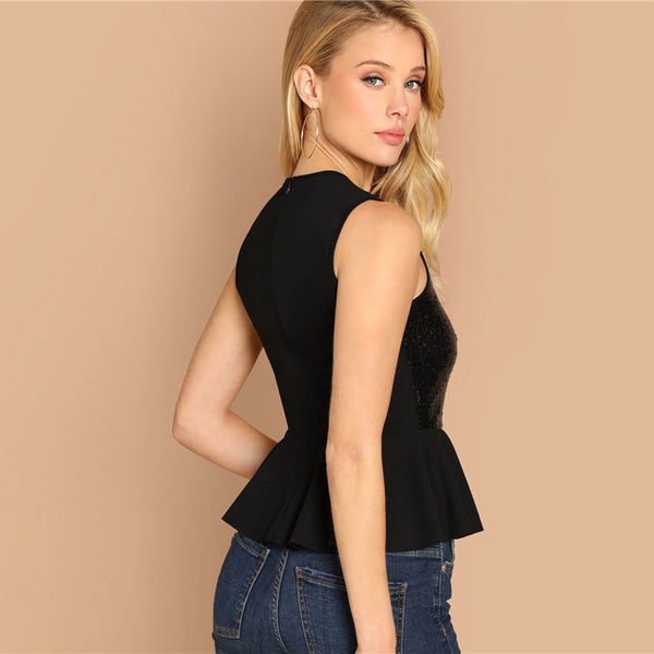 Huda Mesh Insert Sequin Peplum Top, Black
