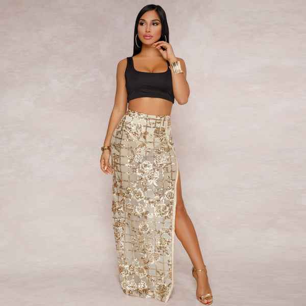 Kim Sheer Mesh Sequined Side Split Maxi Skirt, Gold