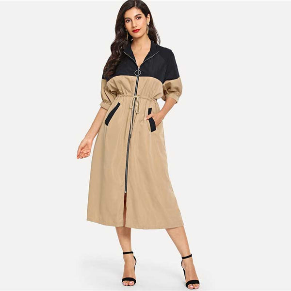 Pravda Khaki Bishop Sleeve Drawstring Trench Coat, Multi