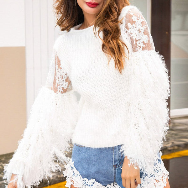 Bleecker Tassel Lace Loose Sweater