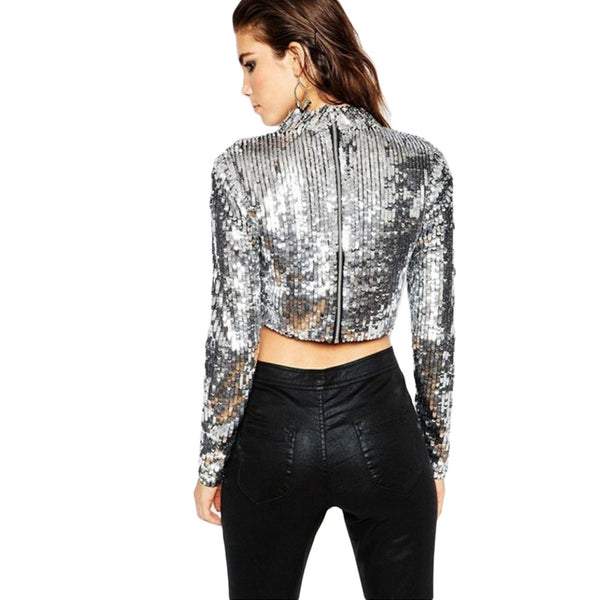 Granny Turtleneck Crop Top, Metallic Silver