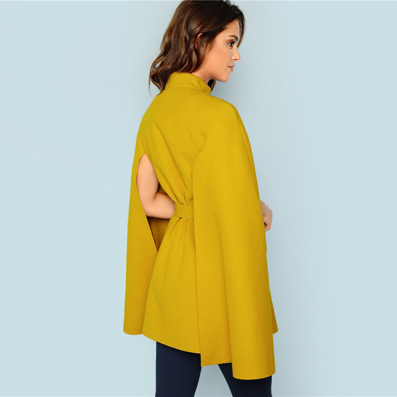 Clemente Belted Cape Coat, Mustard Yellow