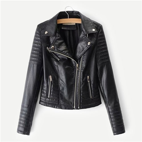 Campbell Vegan Leather Padded Biker Jacket, Black
