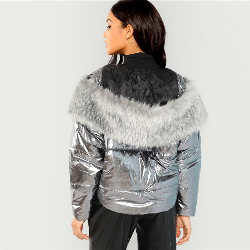 Neil Puffer Faux Fur Trim Coat, Metallic Silver