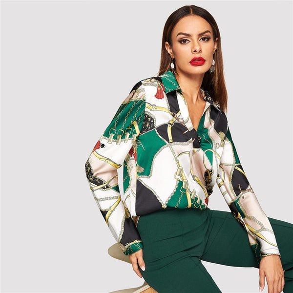 Rachel Satin V-neck Collared Blouse, Equestrian Print