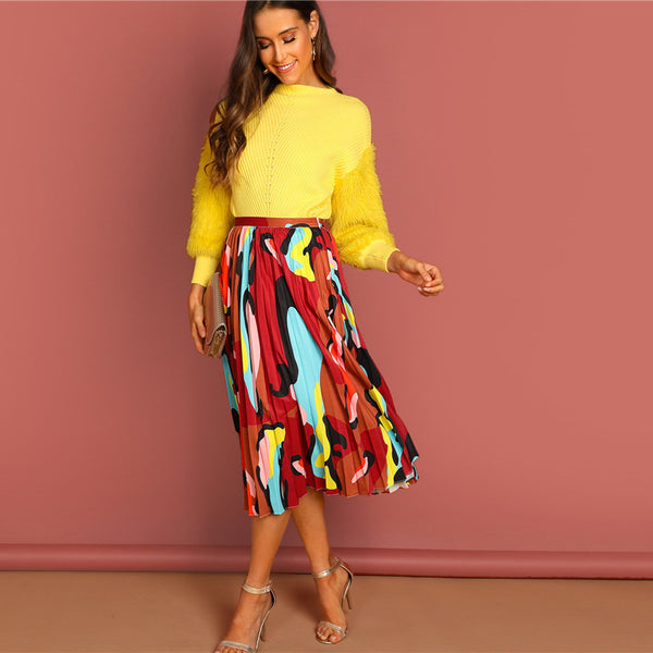 Carrie Colourful High Waist Skirt, Multi