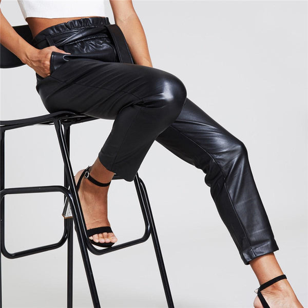 Hook Vegan Leather Tapered Trouser, Black