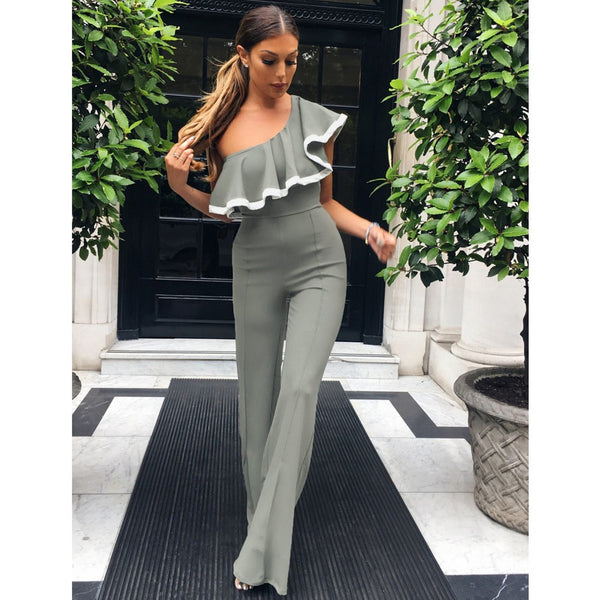 Kelsi One-Shoulder Ruffle Jumpsuit