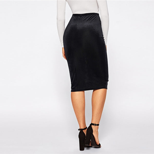Karen Rib-Knit Knee Length Pencil Skirt, Black