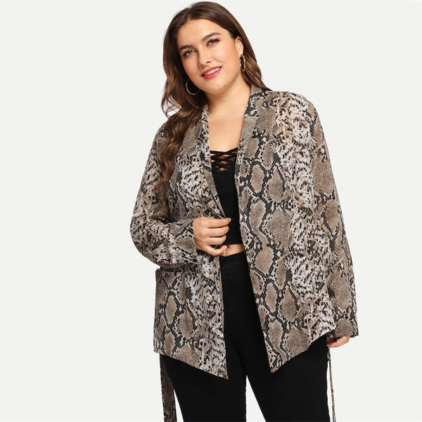 Amanda, Curva Long Loose Fitted Blouse, Snake Skin Print