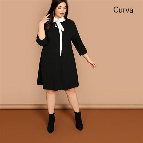 Peter Curva, Tie Neck Collar Dresses, Black