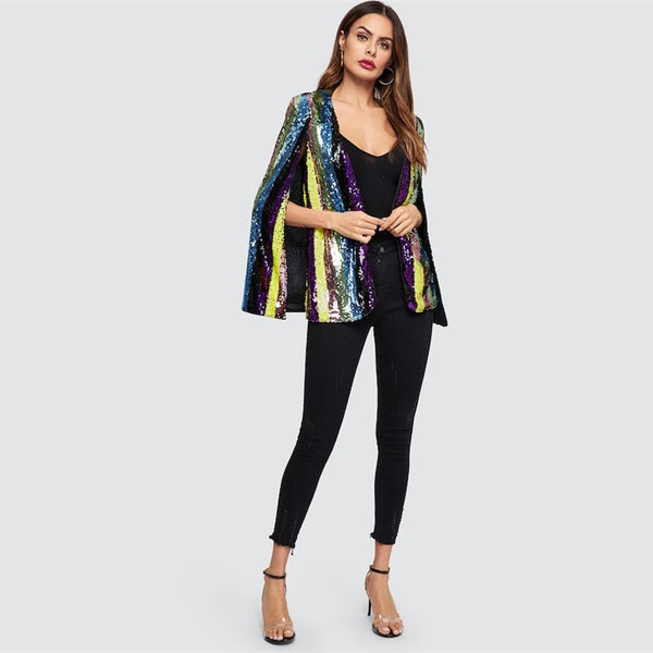 Amped Cape Sequin Printed Coat, Multi