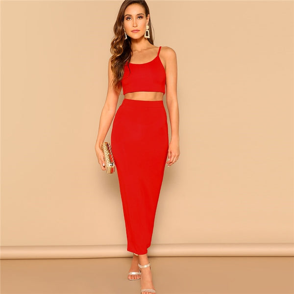 Regina Cami Bodycon Two Piece Set, Red