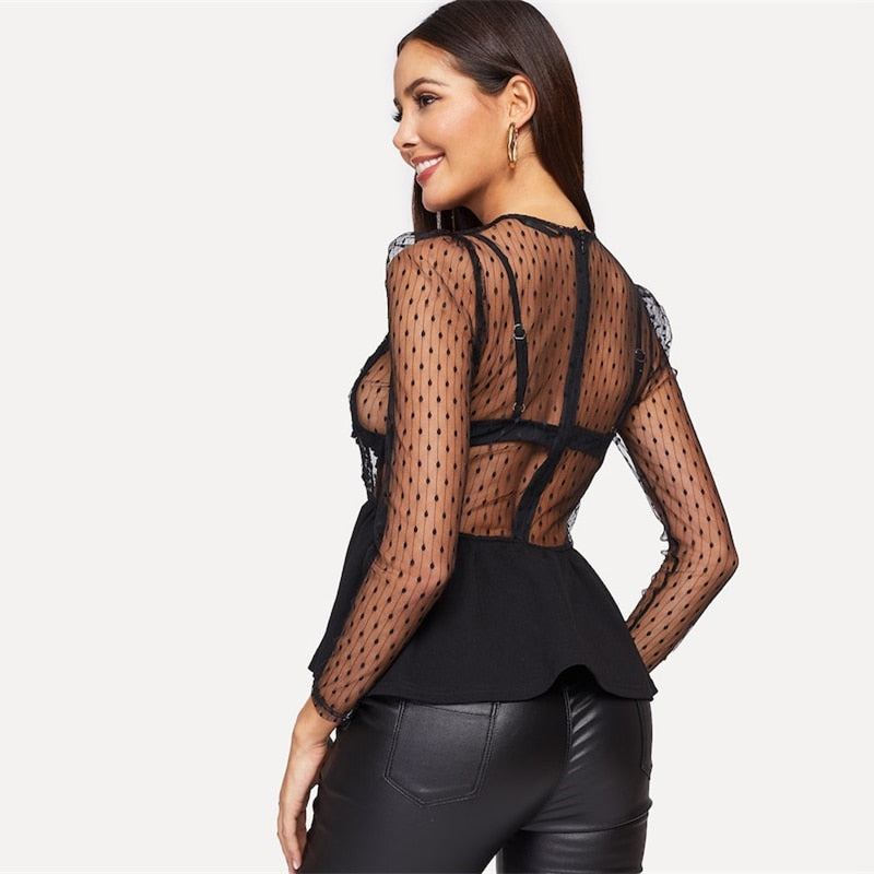 Kory Lace Applique Sheer Peplum Blouse, Black
